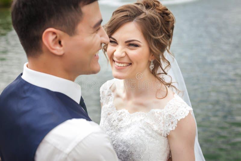 Attraktive Braut und Bräutigam, die nahe dem See lächelt lizenzfreies stockbild