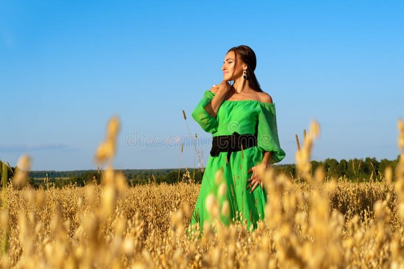 Attraktive brunette Frau auf dem Weizengebiet im grünen Kleid stockfotografie