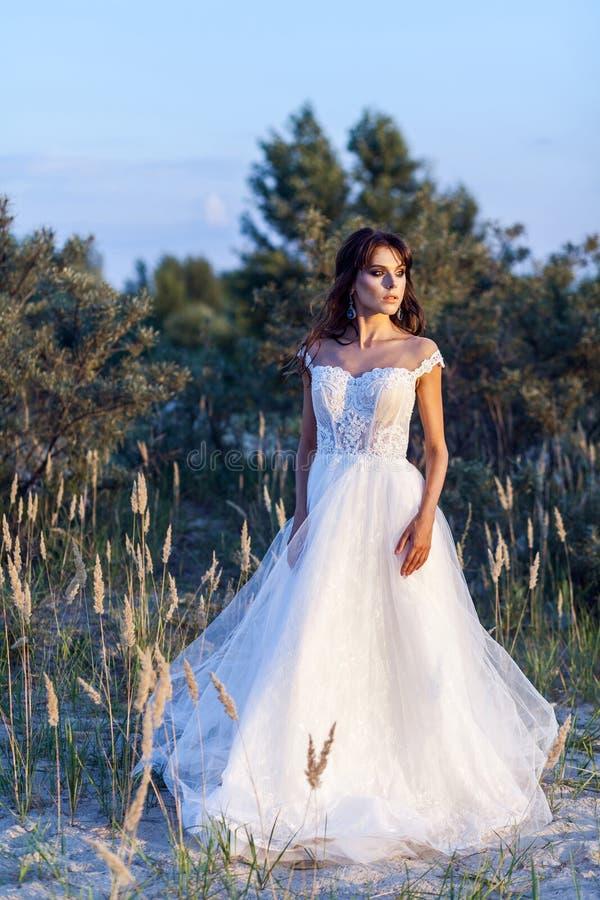 Attraktive brunette Frau mit tragendem weißem Heiratskleid des Makes-up und der Frisur bei der Aufstellung in Lichtung weg stehen lizenzfreie stockfotografie