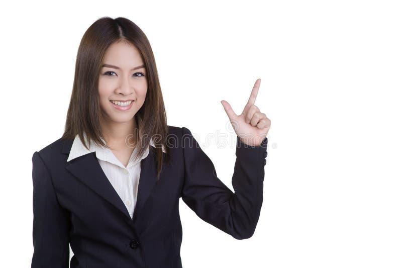 Attraktive direkte Witzboldklage der Geschäftsfrau lokalisiert stockfotografie