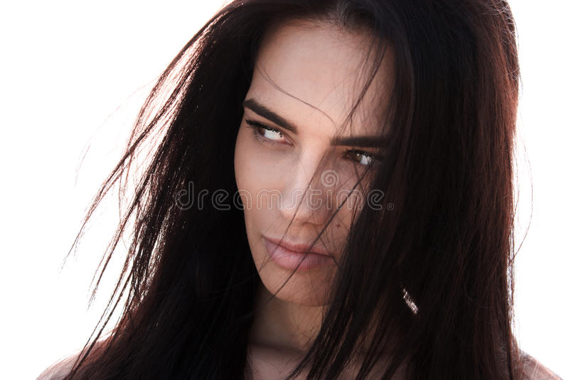 Attraktive dunkelhaarige Frau stockbild