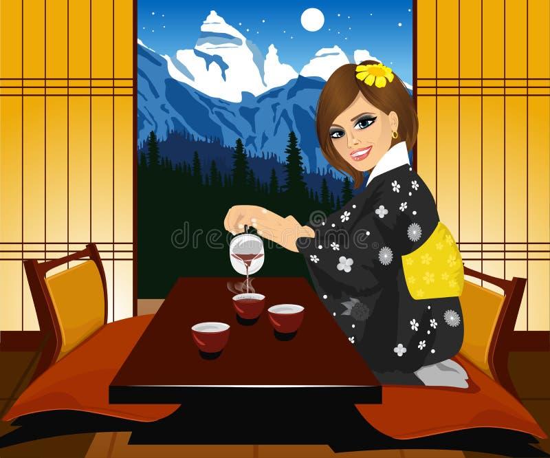 Attraktive Frau in auslaufendem Tee des Kimonos Innenraum von traditionellem japanischem Innen-Kyoto vektor abbildung