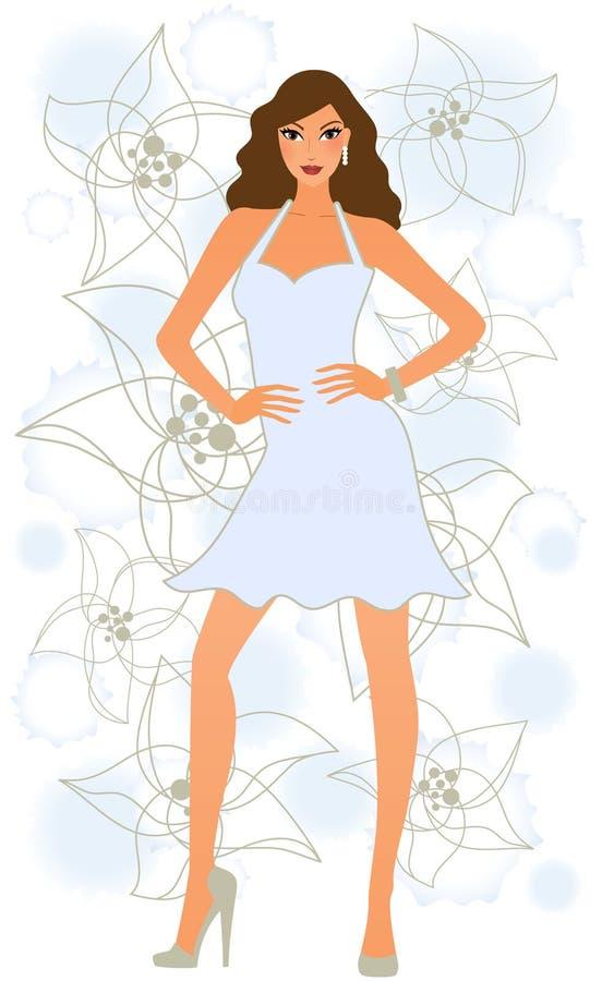 Attraktive Frau, die im blauen Kleid aufwirft stock abbildung