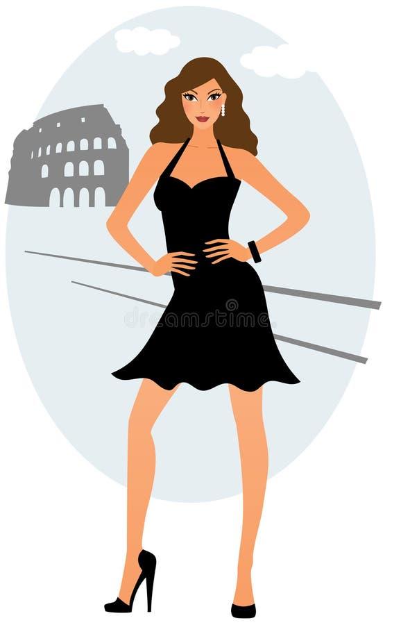 Attraktive Frau, die im schwarzen Kleid aufwirft lizenzfreie abbildung