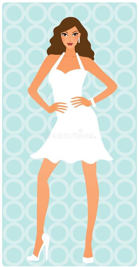 Attraktive Frau, die im weißen Kleid aufwirft vektor abbildung