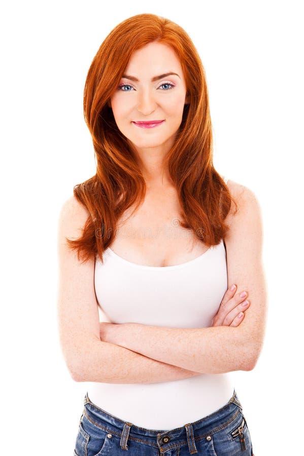 Attraktive Frau im roten Haar lizenzfreies stockbild