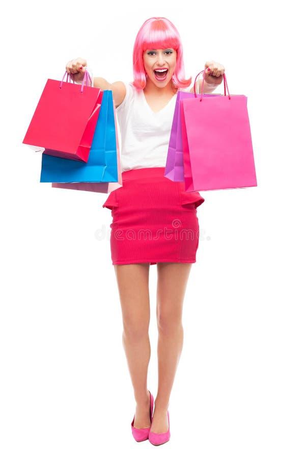 Attraktive Frau Mit Einkaufstaschen Stockfotos