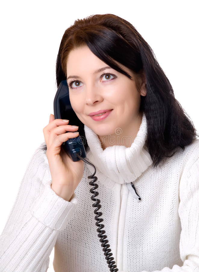 Attraktive Frau am Telefon stockfotos