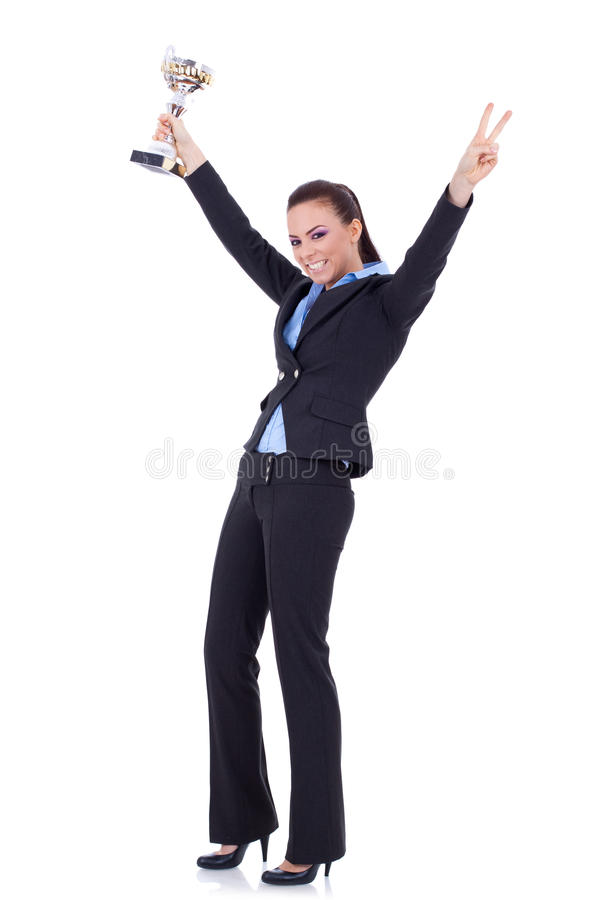 Attraktive gewinnende Trophäe der Geschäftsfrau lizenzfreies stockfoto