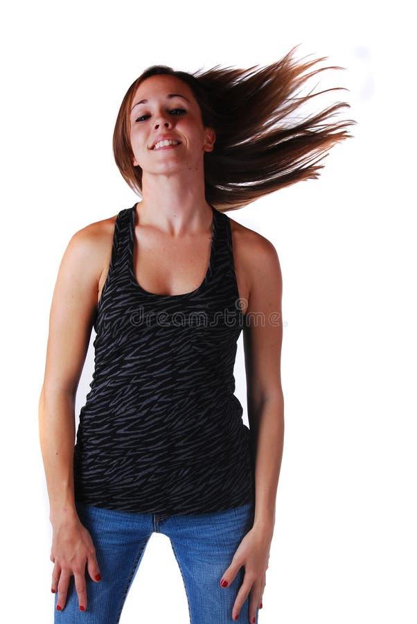 Attraktive junge Frau in den Gläsern stockfoto