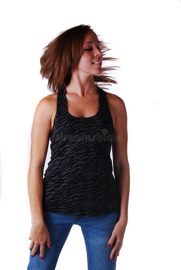 Attraktive junge Frau in den Gläsern lizenzfreies stockbild