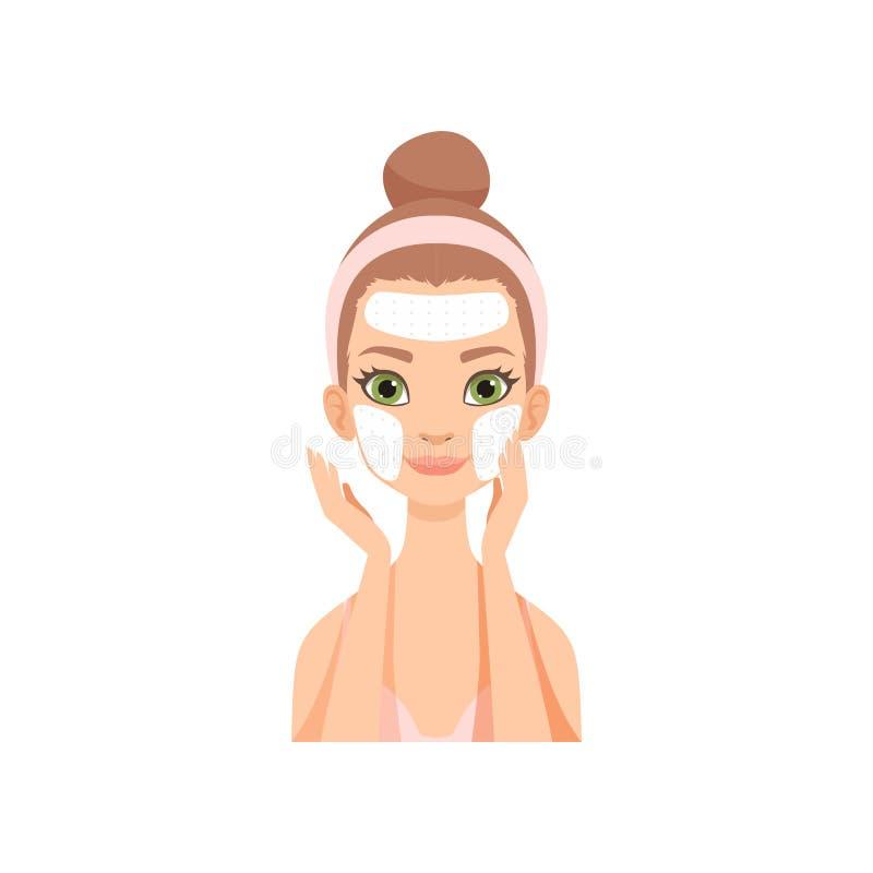Attraktive junge Frau, die Reinigungsmaske anwenden, Mädchen, das für ihr Gesicht sich interessieren und Haut, Gesichtsbehandlung lizenzfreie abbildung