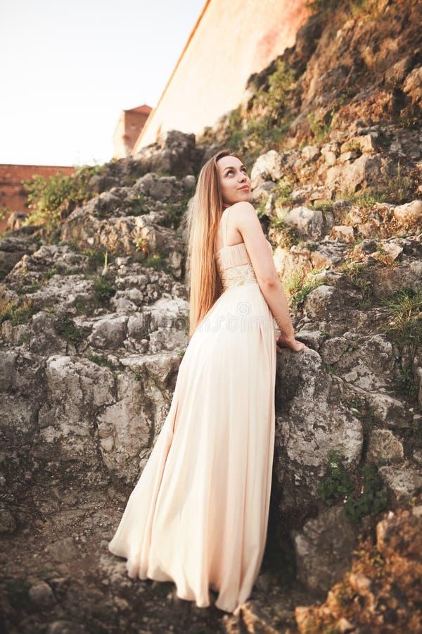 Attraktive junge Frau im langen Kleid, das auf den Felsen steht lizenzfreies stockbild