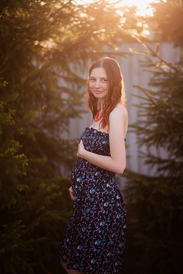 Attraktive junge pregnat Frau Erstes Trimester stockfotografie