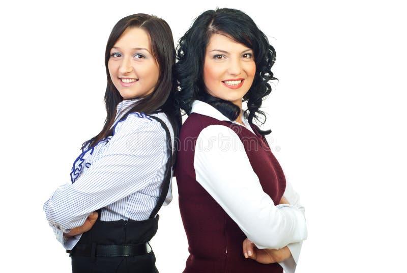 Attraktive zwei busienss Frauen stockfotografie