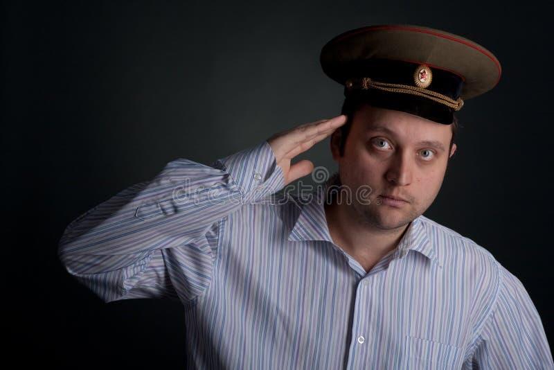 Attraktiver bärtiger Mann im Hut stockbild