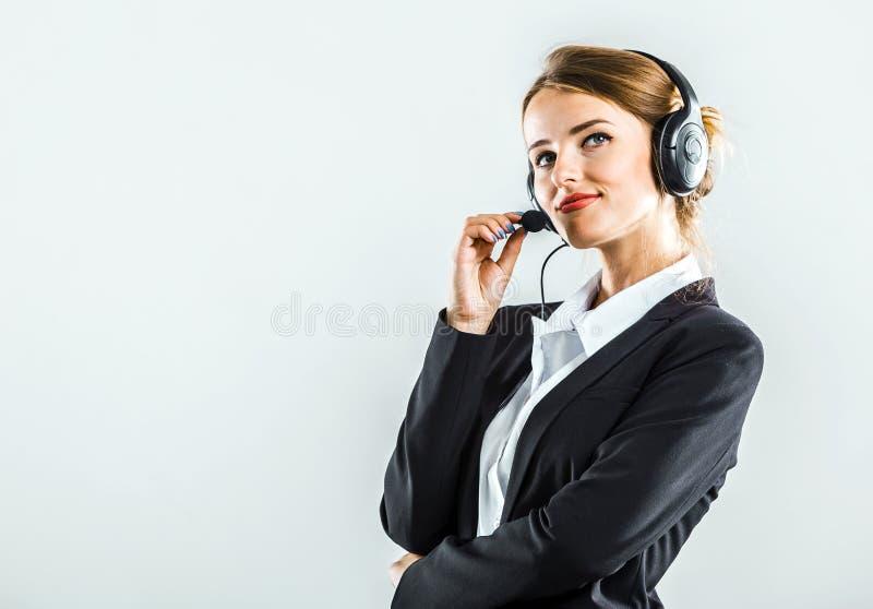 Attraktiver callcenter Betreiber stockbilder