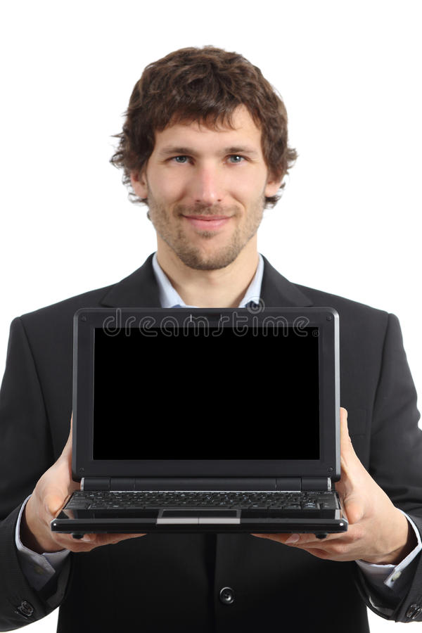 Attraktiver Geschäftsmann, der eine netbook Schirm-APP zeigt lizenzfreies stockfoto