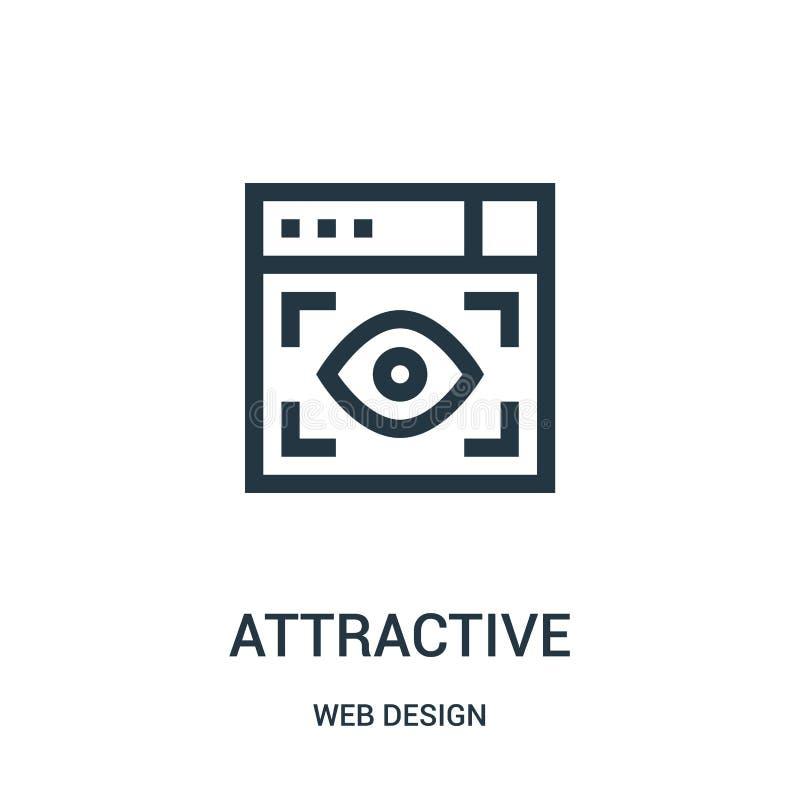 attraktiver Ikonenvektor von der Webdesignsammlung Dünne Linie attraktive Entwurfsikonen-Vektorillustration vektor abbildung