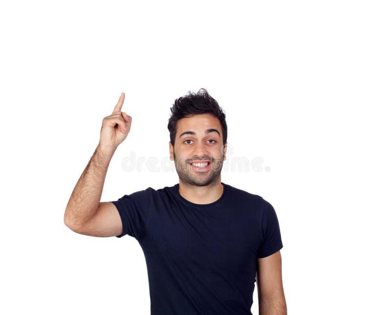 Attraktive junge Männer im schwarzen Bitten zu sprechen stockbild