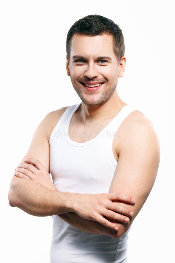 Attraktiver Kerl drückt positive Gefühle aus stockbilder