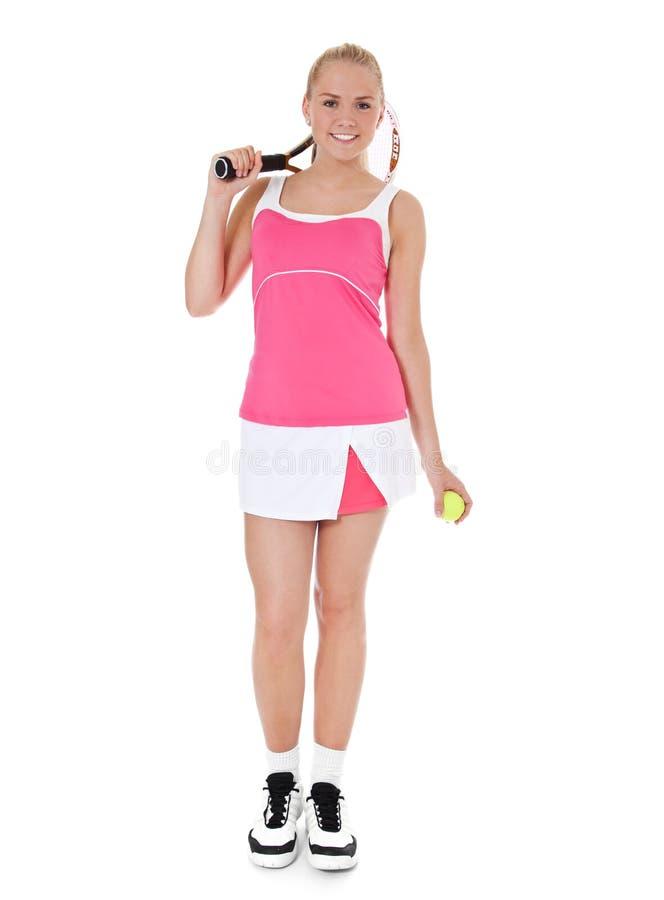 Attraktiver weiblicher Tennisspieler stockfotos