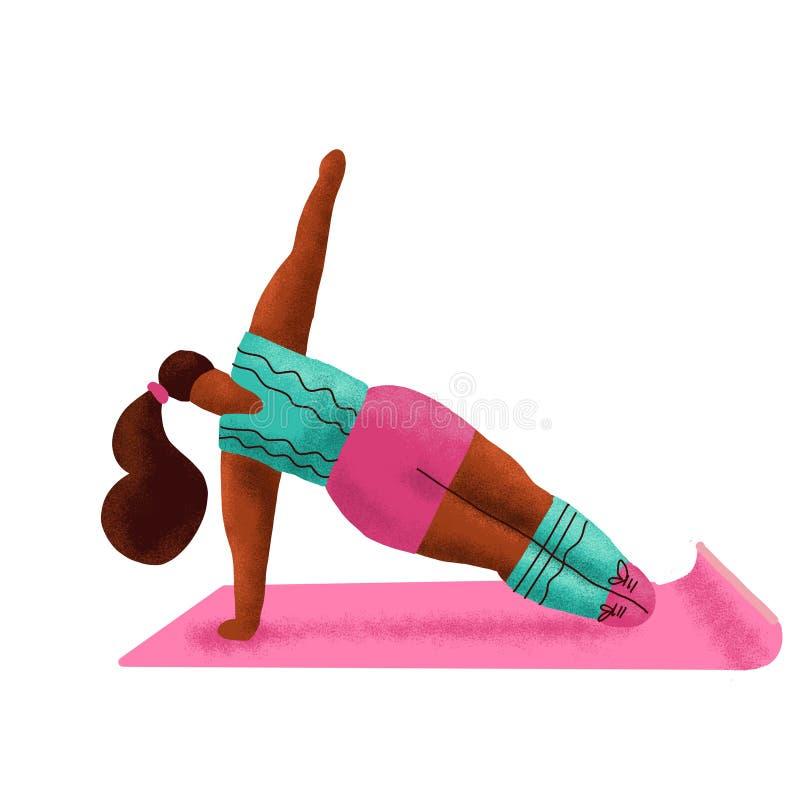 Attraktives überladenes Frauenübungsyoga in der Turnhalle K?rperpositiv Plusgrößenmädchen, das Eignung, Yoga, Vorwärtsspalte tut  vektor abbildung