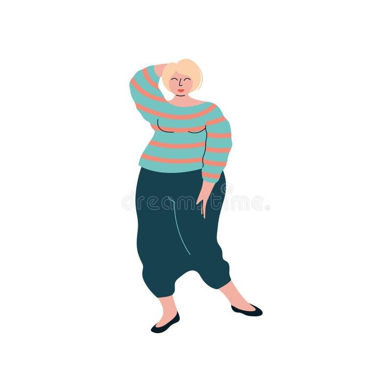 Attraktives blondes Curvy Mädchen in der modischen Kleidung, schön plus Größen-pralle Frauen-Vektor-Illustration stock abbildung