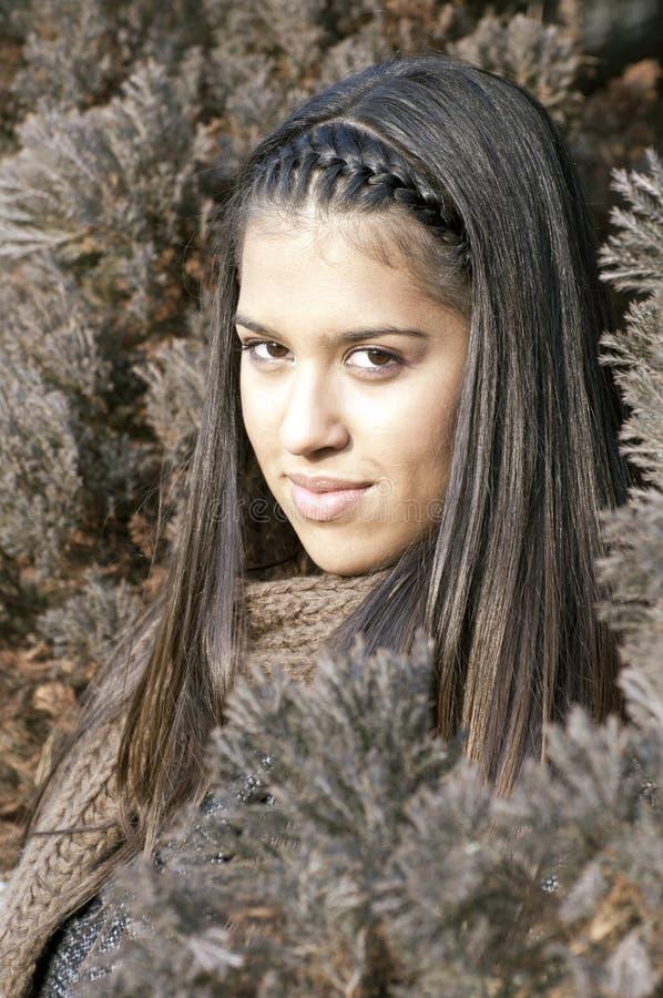 Attraktives junges brunnette Portrait stockfotos