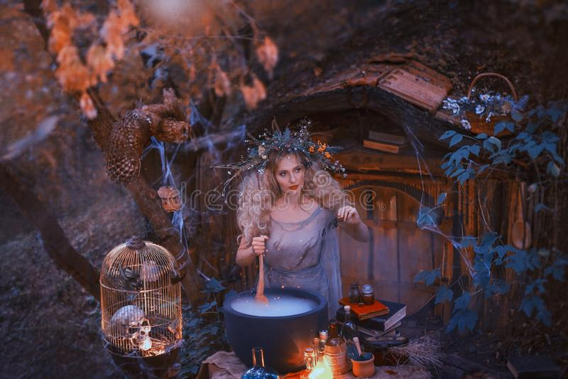 Attraktives junges Mädchen mit dem blonden Haar mit einem erstaunlichen üppigen Kranz auf ihrem Kopf im Wald bereitet ein großes  stockbild