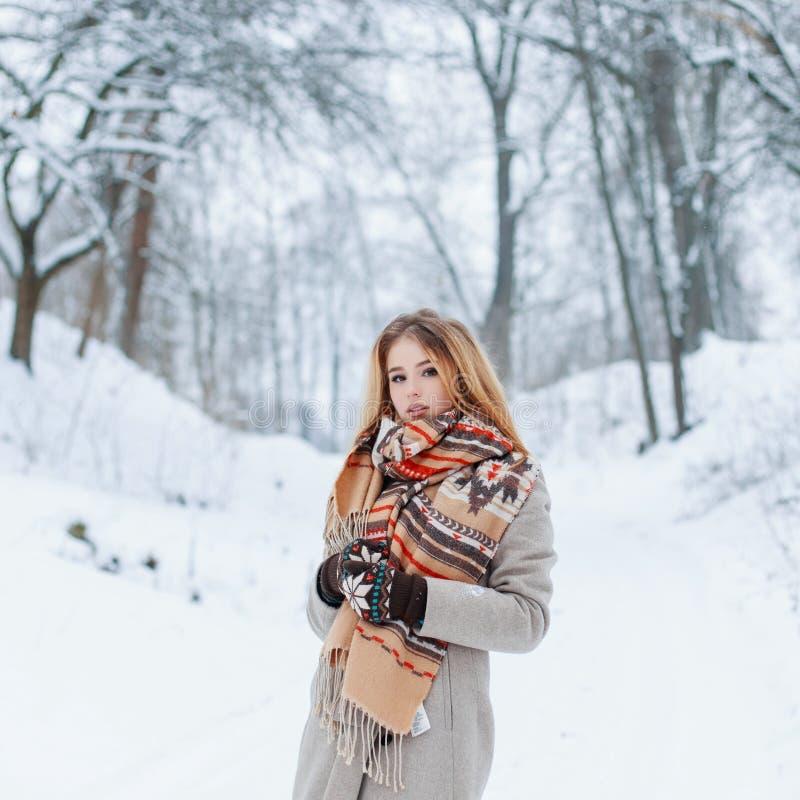 Attraktives junges Mädchen stilvoll mit einem woolen warmen Schal in einem modischen grauen Wintermantel stockfotografie