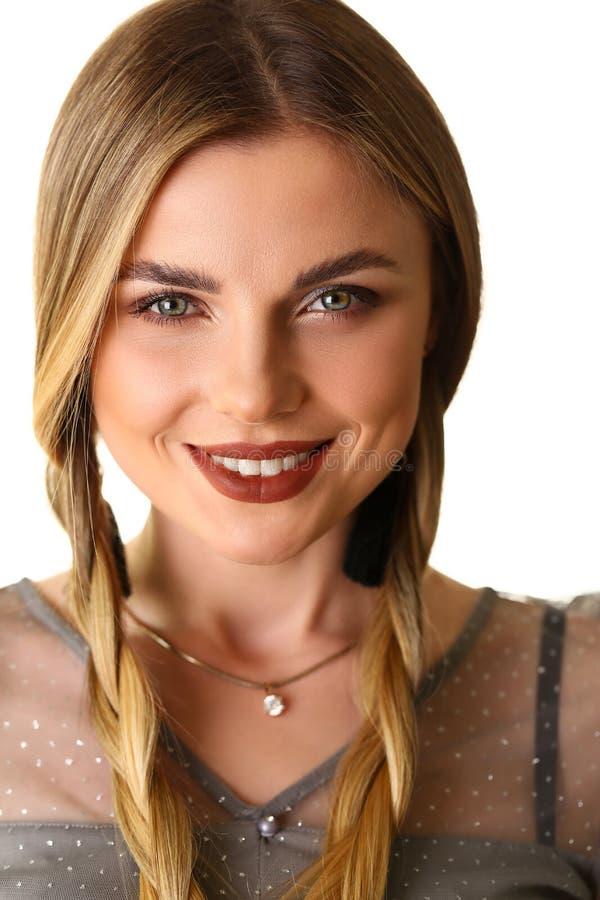 Attraktives kaukasisches Mädchen-Schönheits-Modell Headshot stockbilder
