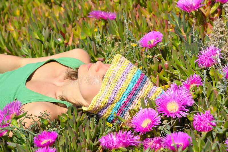 Attraktives Mädchen, das auf einem Feld mit buntem flo liegt stockfoto