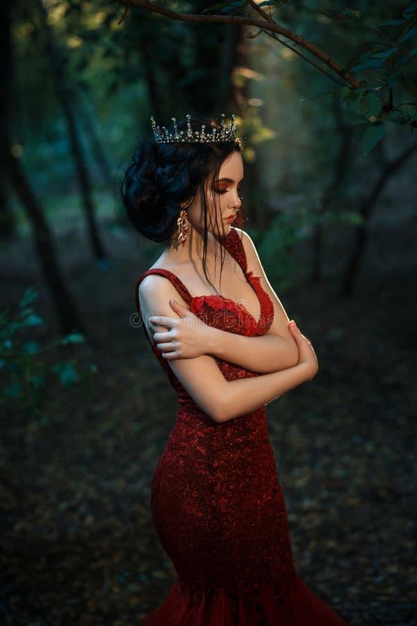 Attraktives Mädchen in einem roten Kleid lizenzfreies stockbild