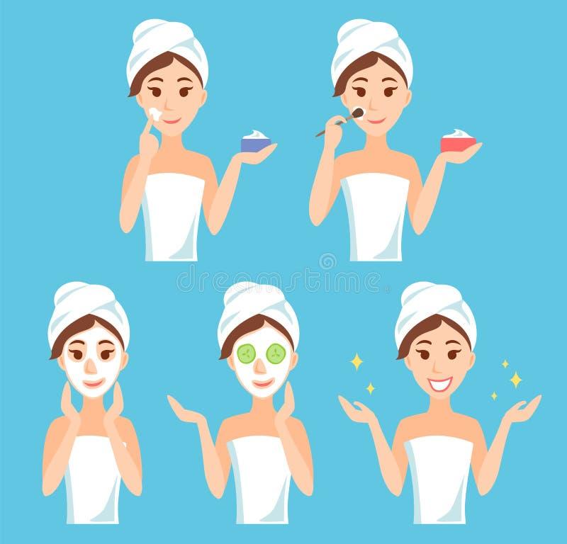 Attraktives Sorgfaltgesicht und -haut der jungen Frau, unter Verwendung der Creme und des Anwendens der natürlichen Maske Gesicht lizenzfreie abbildung