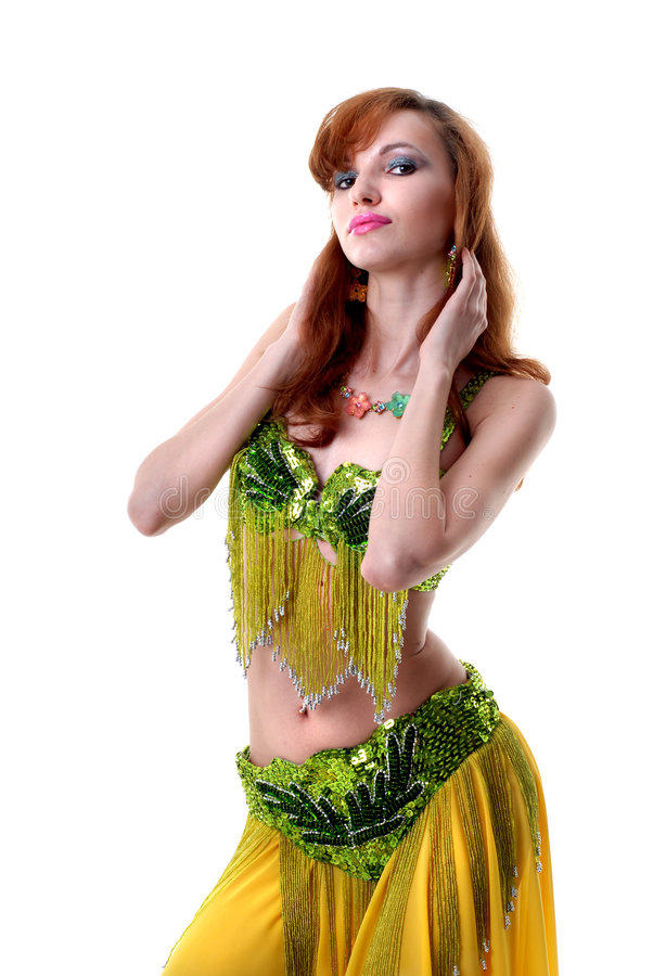 Attraktives Tanzen der jungen Frau Bauch-tanzen lizenzfreie stockfotos