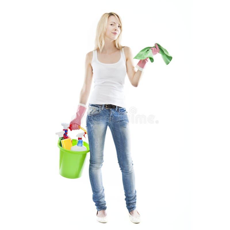 attraktivt blont housecleaning kvinnabarn royaltyfria bilder
