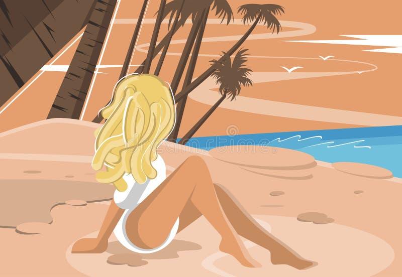 Attraktivt blont sammanträde på stranden royaltyfri illustrationer