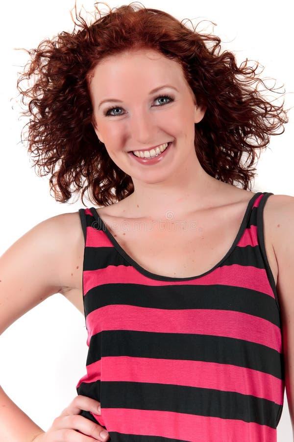 attraktivt haired rött kvinnabarn arkivfoton