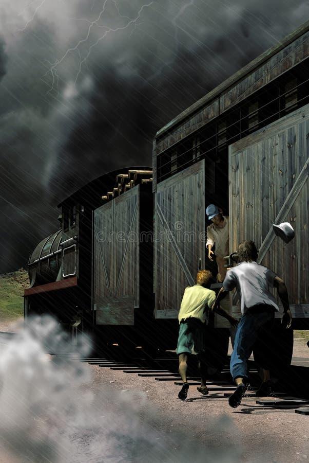Attraper de train illustration de vecteur