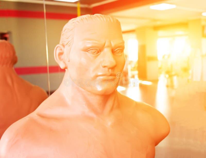 Attrapp för att boxas och praktiserande stansmaskiner i kampsporter i gymnastiksalen mot bakgrunden av en solnedgång, karate royaltyfria foton