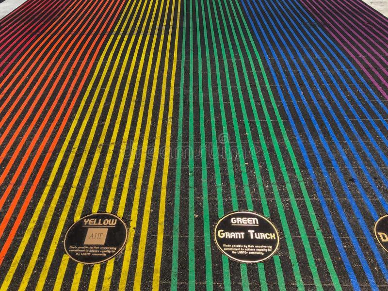 Attraversamento gay della bandiera dell'arcobaleno fotografie stock libere da diritti