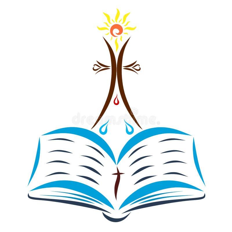 Attraversi con un sole brillante sopra una bibbia aperta, gocce dell'acqua e royalty illustrazione gratis