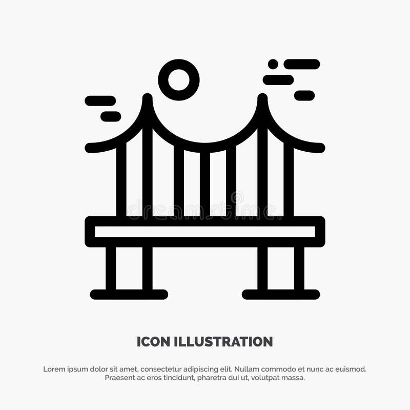 Attraverso, ponte, metallo, fiume, linea vettore della strada dell'icona illustrazione vettoriale