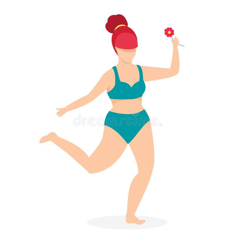 Attrayant plus la femme de taille dans la danse de vêtements de bain illustration stock