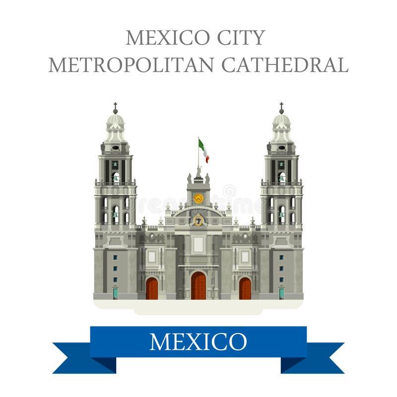 Attrazione piana di vettore metropolitano della cattedrale di Città del Messico illustrazione di stock