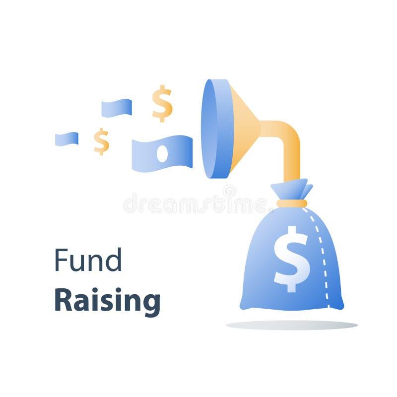 Attrazione soldi, campagna di raccolta di fondi, prestito facile, crescita capitale veloce, ritorno di investimento, imbuto e del illustrazione vettoriale