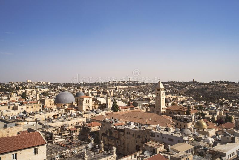 Attrazioni del paesaggio di Israele Vista di Gerusalemme di vecchia città e di nuova città Vista dalla cima della torre di David  immagine stock