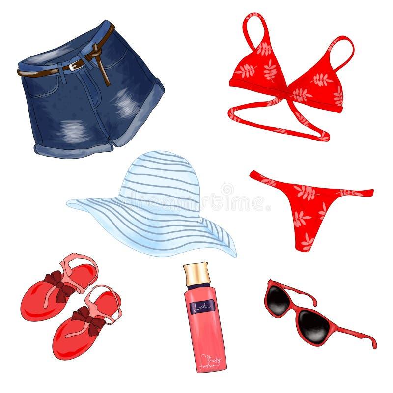 Attrezzatura alla moda della spiaggia royalty illustrazione gratis