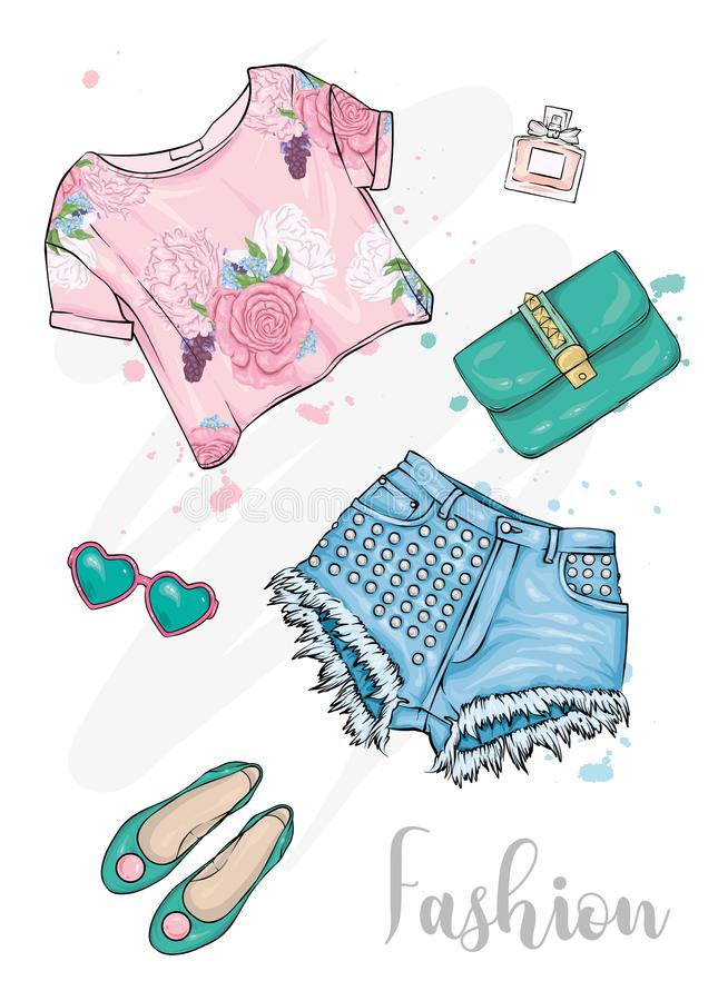 Attrezzatura alla moda di estate Brevi cima, shorts, scarpe, borsa e vetri Illustrazione, modo e stile di vettore Uno schizzo illustrazione di stock